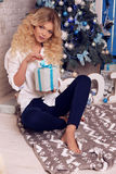 Christmas photo of beautiful woman with blond hair in elegant cl. Fashion interior holiday Christmas photo of beautiful woman with blond hair in elegant clothes Stock Photos