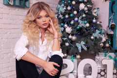 Christmas photo of beautiful woman with blond hair in elegant cl. Fashion interior holiday Christmas photo of beautiful woman with blond hair in elegant clothes Stock Photography