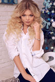 Christmas photo of beautiful woman with blond hair in elegant cl. Fashion interior holiday Christmas photo of beautiful woman with blond hair in elegant clothes Stock Photo