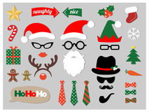 Christmas photo booth props. Design elements set Royalty Free Stock Images