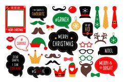 Christmas photo booth props. Santa hat and beard, elf hat, deer, snowman, candy, mustache, lips. Speech bubble merry christmas, believe, grinch, ho ho ho, nice stock illustration