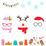 Christmas photo booth props. Christmas vector cartoon photo booth props Royalty Free Stock Photos