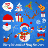 Christmas photo booth and scrapbooking vector set. With Santa Claus snowman deer etc vector illustration