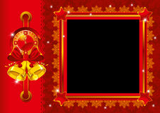 Christmas photo frame with bells Royalty Free Stock Images