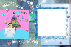 Christmas photo frame card for baby and kids Royalty Free Stock Photo