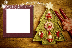 Christmas photo frame cards, cheerful tree. Candles and flowers with blank photo frame Stock Images