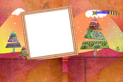 Christmas photo frame cards cute landscape. Christmas photo frames cards, one empty frame to put photos over a cute christmas paper landscape with copy space for Royalty Free Stock Photos