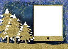 Christmas photo frame cards. Christmas empty photo frame greetings cards, gold glitter three christmas trees and blank picture frame royalty free stock photo