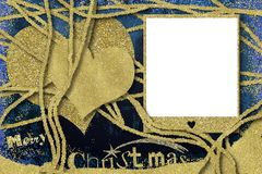 Christmas photo frame cards. Glitter gold hearts and empty photo frame Stock Photo
