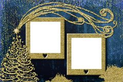 Christmas 2 photo frames cards. Christmas photo frame cards. Golden Christmas tree freehand drawn and two empty photo frames Stock Images