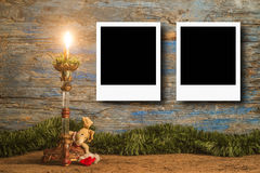 Christmas photo frame cards for two photos Royalty Free Stock Photo