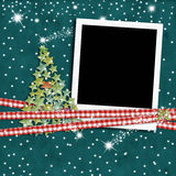 Christmas photo frame fir tree Royalty Free Stock Photography