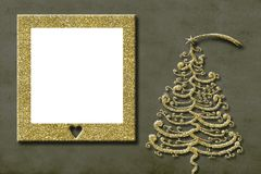 Christmas photo frame greeting card. Christmas photo frame cards. Golden Christmas tree freehand drawn and one empty picture frame Royalty Free Stock Photography