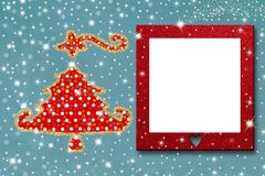 Christmas photo frame greeting card royalty free stock images