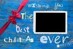 Christmas photo frame and greeting xmas Royalty Free Stock Photo