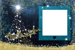 Christmas photo frame greetings cards. Santa Claus sleigh royalty free illustration