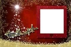 Christmas photo frame greetings cards. Santa Claus sleigh royalty free stock images