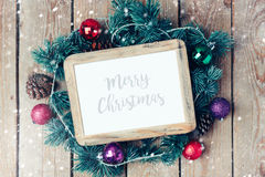 Christmas photo frame mock up template with decoration. View from above Stock Image