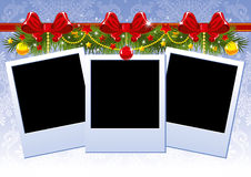 Christmas photo frame with red bow Stock Photography