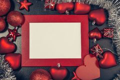 Christmas photo frame. Red christmas photo frame. Ready for your text or picture Royalty Free Stock Images