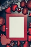 Christmas photo frame. Red christmas photo frame. Ready for your text or picture Royalty Free Stock Image