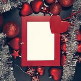 Christmas photo frame. Red christmas photo frame. Ready for your text or picture Royalty Free Stock Photo