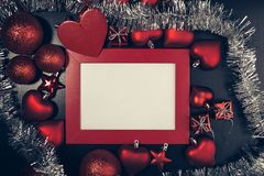 Christmas photo frame. Red christmas photo frame. Ready for your text or picture Stock Photos