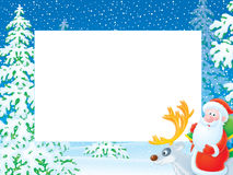 Christmas photo frame with Santa Claus riding on r Royalty Free Stock Photography