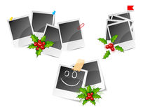 Christmas photo frame set with holly Royalty Free Stock Images