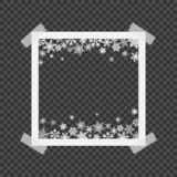 Christmas photo frame with shadow. Photo frames with adhesive tape. Template photo frame with snowflakes for Christmas photos. Vector illustration stock illustration