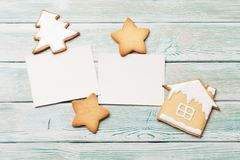 Christmas photo frames with gingerbread cookies stock photo