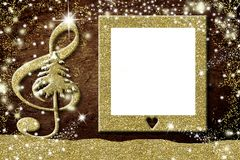 Christmas photo frames music  cards. Christmas photo frames cards, treble clef and Christmas tree in gold glitter texture, blank picture frame Stock Images