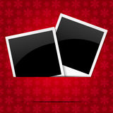 Christmas photo frames. On red background Royalty Free Stock Photography