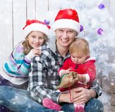 Christmas photo of a happy family Stock Photography