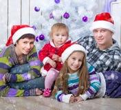 Christmas photo of a happy family Stock Photo