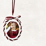 Christmas photo ornament. Photo ornamant Christmas/holiday background - with clipping path for frame interior Stock Photos