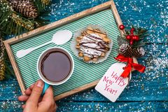 Christmas photo of tea, cake on table Royalty Free Stock Photo