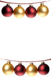 Christmas Photo, Two Rows Of Red And Gold Ornaments Strung On Pl Stock Photography