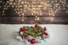 Christmas photo zone. Christmas decor. garland. wicker wreath. artificial snow. royalty free stock images