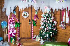 Christmas photo zone in vintage style. Room Christmas Tree, Xmas Home Interior Decoration, Toys, Christmas decorations, Christmas decorations, photo zone Royalty Free Stock Images