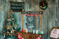 Christmas photo zone in vintage style. Room Christmas Tree, Xmas Home Interior Decoration, Toys Stock Photo