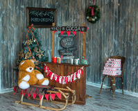 Christmas photo zone in vintage style. Room Christmas Tree, Xmas Home Interior Decoration, Toys Royalty Free Stock Image