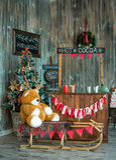 Christmas photo zone in vintage style. Room Christmas Tree, Xmas Home Interior Decoration, Toys Royalty Free Stock Photo