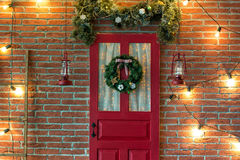 Christmas photo zone in vintage style. Room Christmas Tree, Xmas Home Interior Decoration, Toys, Christmas decorations, Christmas decorations, photo zone Royalty Free Stock Photography