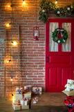 Christmas photo zone in vintage style. Room Christmas Tree, Xmas Home Interior Decoration, Toys, Christmas decorations, Christmas decorations, photo zone Royalty Free Stock Photo