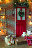 Christmas photo zone in vintage style. Room Christmas Tree, Xmas Home Interior Decoration, Toys, Christmas decorations, Christmas decorations, photo zone Stock Photography