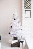 Christmas photo zone in vintage style. Room Christmas Tree, Xmas Home Interior Decoration, Toys, Christmas decorations, Christmas decorations, photo zone Stock Images