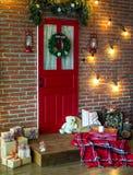 Christmas photo zone in vintage style. Room Christmas Tree, Xmas Home Interior Decoration, Toys, Christmas decorations, Christmas decorations, photo zone Royalty Free Stock Photos