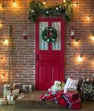 Christmas photo zone in vintage style. Room Christmas Tree, Xmas Home Interior Decoration, Toys, Christmas decorations, Christmas decorations, photo zone Stock Photo