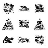 Christmas phrases. Merry and Bright, hello santa, I wish you, Happy holidays, Let`s build snowman, Magic time, blessings Royalty Free Stock Photos